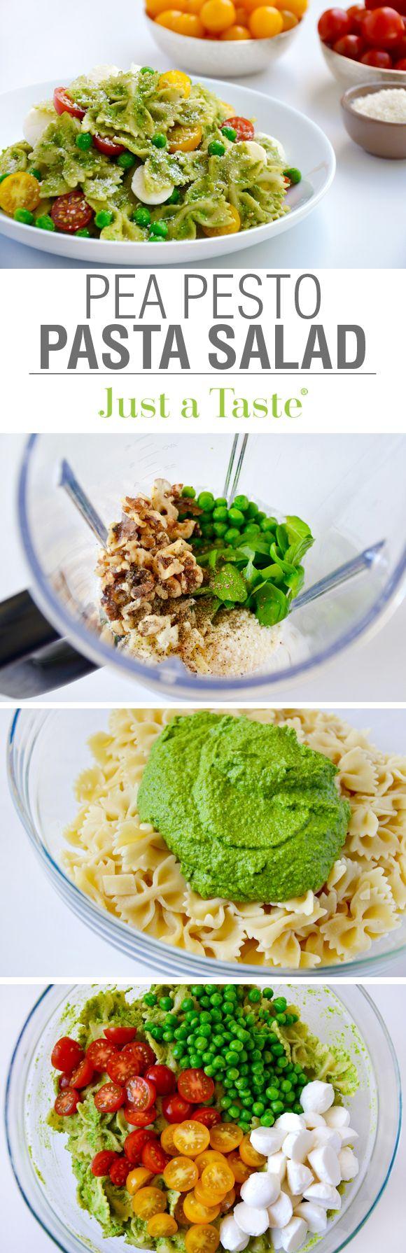 Pea Pesto Pasta Salad recipe via justataste.com