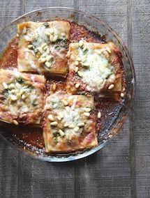 The Italian Dish - Posts - Speedy Mini Lasagna Stacks with Pesto and MarinaraSauce