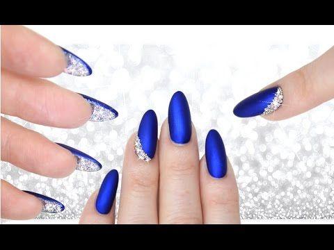LUXE BLUE VELVET & DIAMOND PEEKABOO NAILS - DOUBLE SIDED MANI CRYSTAL NAILART - YouTube  (essie aruba blue)
