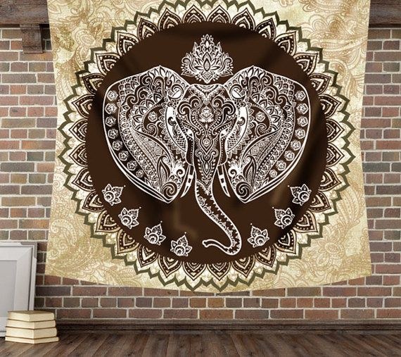 Bohemian elephant wall decor tapestry hippie by Christinedecorshop
