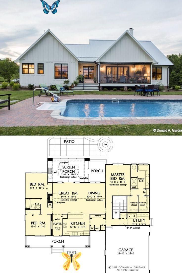 Single Story 3 Bedroom The Coleraine Home Floor Plan Br Specifications Sq Ft 1 905 Bedroo In 2020 Beautiful House Plans Pool House Plans Craftsman House Plans