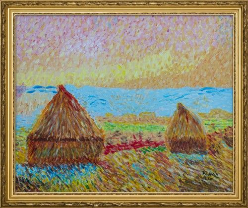 """Reproduction of Claude Monet's """"Haystacks at Giverny"""".    Acrylic on canvas, 50×60 cm.    The painting was done in 2011."""
