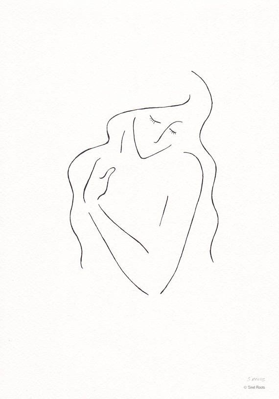 Black and white line art sketch. Ink drawing of a woman with long hair. Portrait wall art.