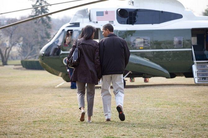 Prezident aprvá dáma pred cestou doCamp Davidu.