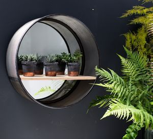 Large Industrial Round Mirror With Shelf