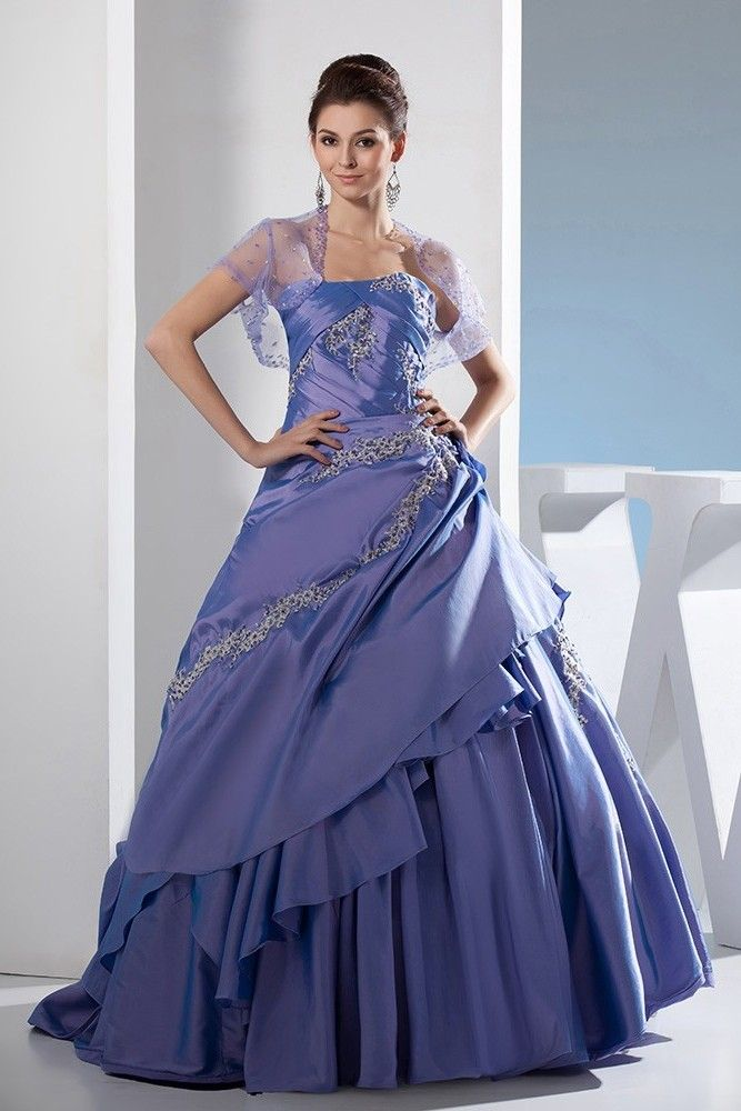 0d53009871 Gorgeous Ball Gown Strapless Beaded Appliques Purple Taffeta Prom Evening  Dress With Jacket
