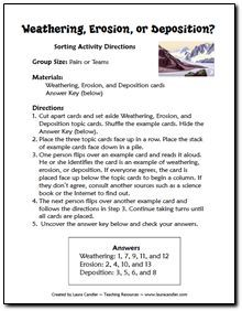 Free Weathering, Erosion, and Deposition Sorting Activity - includes directions and task cards for sorting