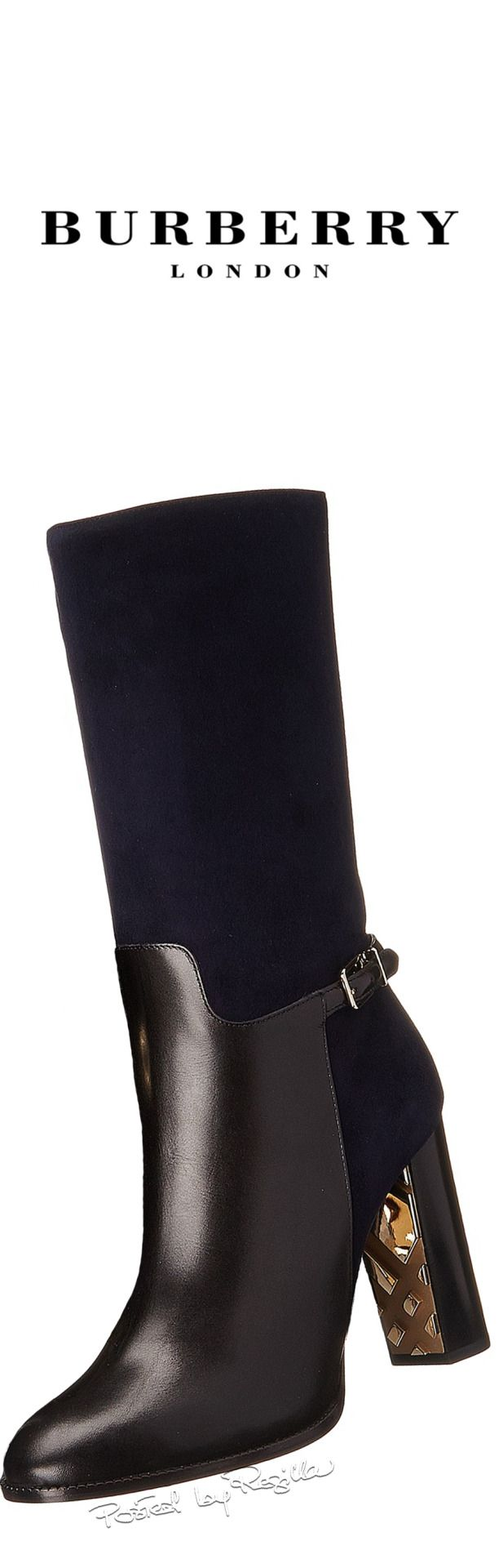 Burberry ~ Check Black Leather + Suede Boots 2015