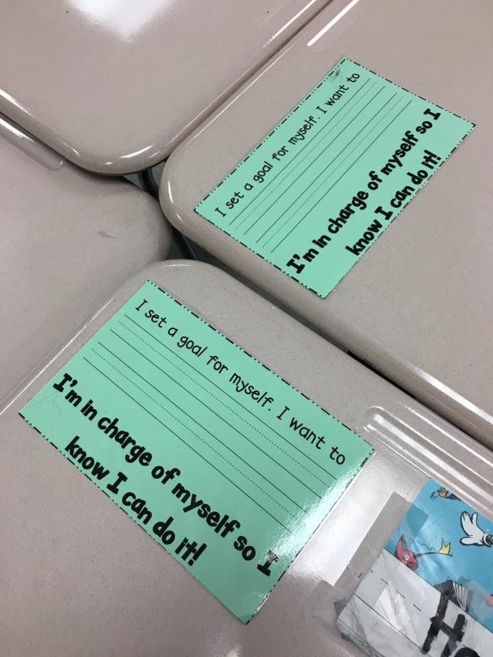 Goal cards taped to kids' desks. When they reach them, they are moved to kids' binders. I think I would put them on a bulletin board! #classroommanagement