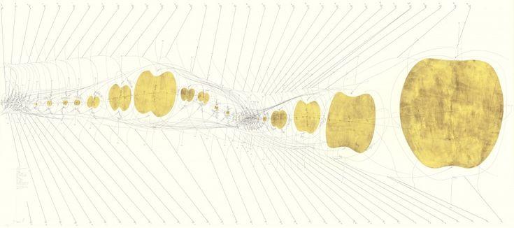 WV 2013-116 C.G. Jung Vorbereitung der Adoleszenz S. 25 folgende Matrix I – XXXIII Rotationsrichtung Rotationsgeschwindigkeit 1 – 33 Umdrehungen/ min Repeat 1-33/ day Himmelsrichtung N-S oben - unten Windrichtung 1 -33 km/h (->) Windrichtung 1 -33 km/h (<-) Achse internes Zentrum 1-33 Referenz Matrix 1-33 Achse internes Zentrum 34-66 Referenz Matrix 1-33 Now Jorinde Voigt Berlin 2013 140 x 316 cm Tinte, Bleistift, Blattgold, auf Papier Unikat Signiert