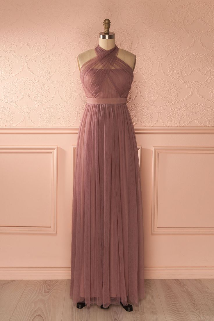 Longue robe licou tulle lavande décolletée en coeur - Pastel purple mesh sweetheart neckline long halter dress
