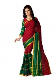Shonaya Red & Green Color Woven Handloom Cotton Silk Saree With Unstitched Blouse Piece