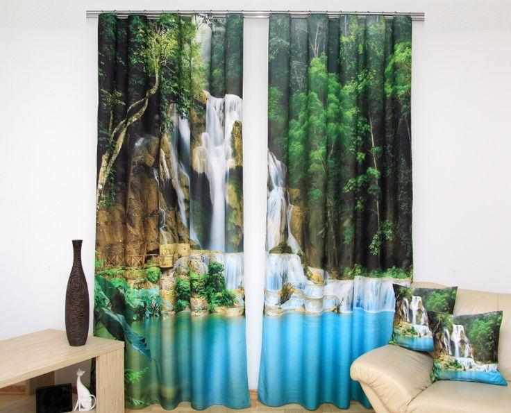 Zeleno modré závesy na okno s 3D potlačou prírody a vodopádu