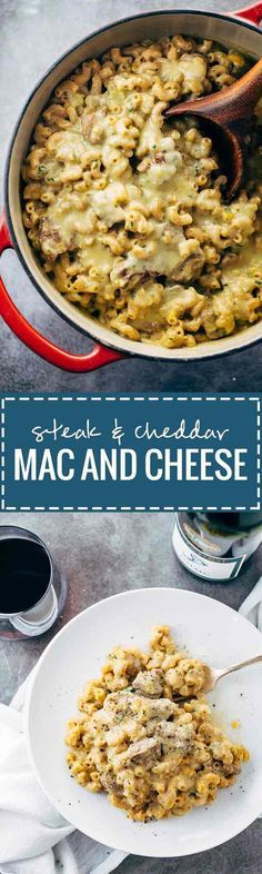 Steak and Cheddar Mac and Cheese recipe - the ultimate comfort food that goes perfectly with a glass of red wine! | pinchofyum.com