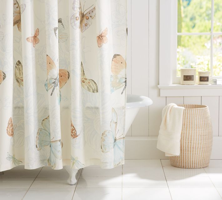 butterfly shower curtain pottery barn bathroom pinterest