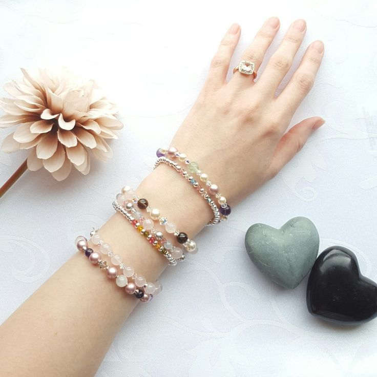 Have a look at the selection of sparkly crystal, pearl and gemstone bracelets we have in our shop. All finished in sterling silver. Perfect for stacking :)