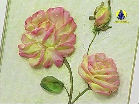 Vida com Arte | Rosa com Pintura Bordada por Valéria Soares - 23 de Junh...