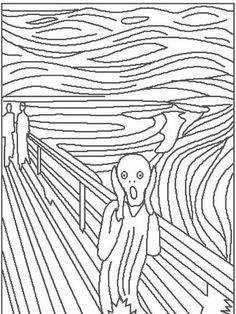 """Edvard Munch """"The Scream"""" preschool classical art. Discuss what the man may be afraid of. ( shark in the water, the green storm, etc)"""