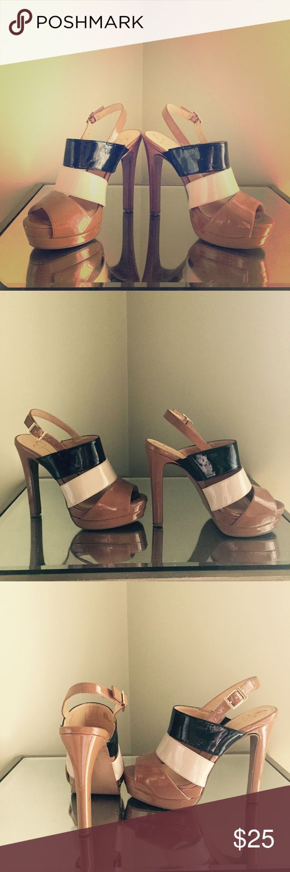 """Jessica Simpson Heels with Ankle Strap Jessica Simpson Heels with Ankle Strap. Size 6. 4"""" heel with 1/2"""" platform. Gently worn. Small scuff on right heel, but I haven't tried cleaning them. Small marks along heels. Jessica Simpson Shoes Heels"""