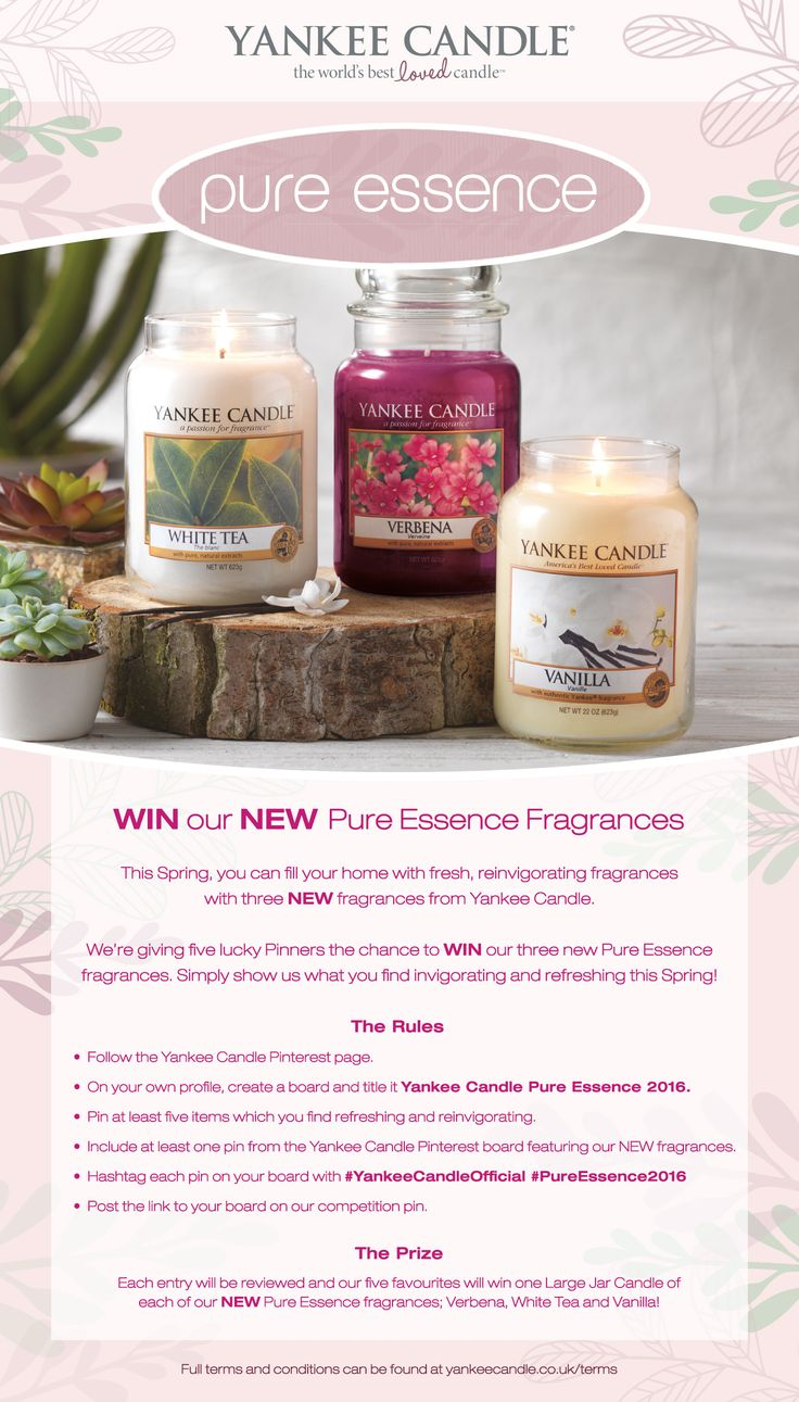 To celebrate the launch of our new #PureEssence fragrances for 2016 - be in with a chance to #WIN in our Pinterest #Competition...view the #YankeeCandle Pin to find out more!