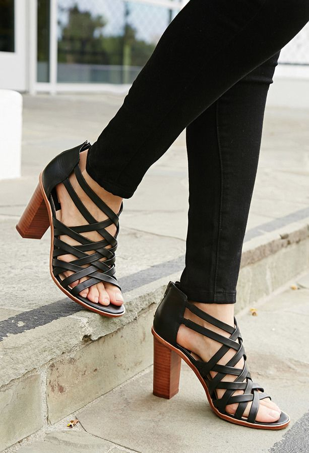 Black Strappy Open Toe Sandal