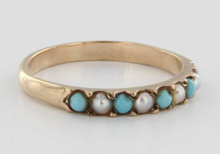 Art Deco 10 Karat Yellow Gold Turquoise Seed Pearl Ring Band Stack Vintage Fine 6