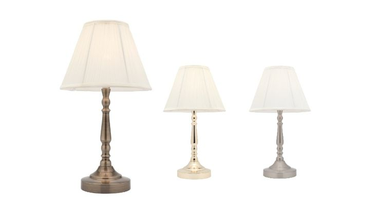 Molly Touch Table Lamp Antique Brass, Polished Brass or Brushed Chrome Mercator A48611, $64.00