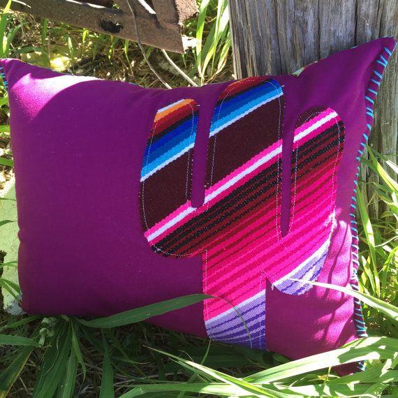 12x16 Handmade Serape Cactus Pillow Saguaro By