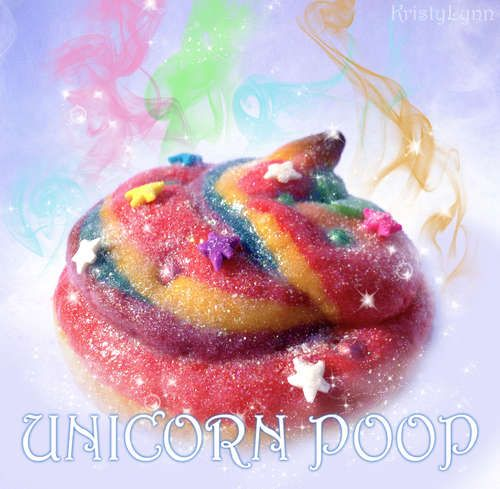 Unicorn poop cookies. I will never in a million years make these, but this cracked me up.