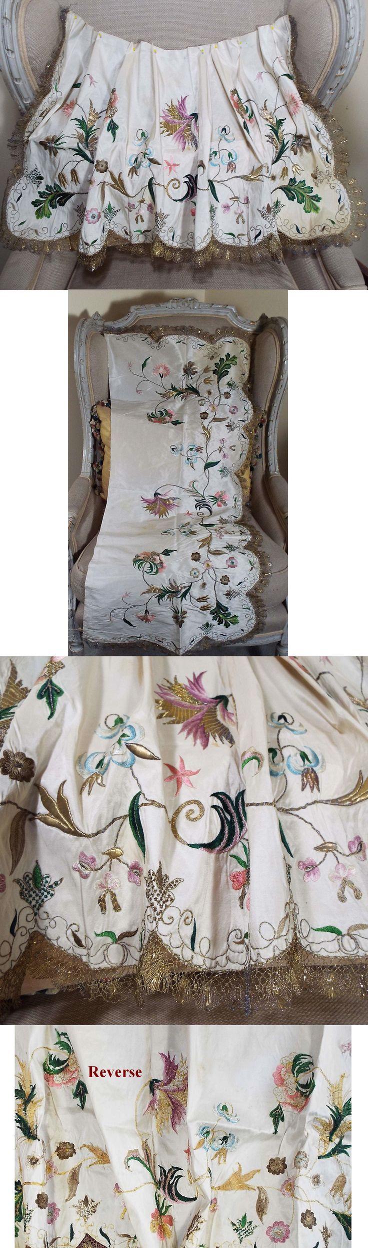 White pinafore apron ebay - Fancy Silk Apron With Embroidery And Metallic Lace Trim Circa 1730 1750 Via Ebay