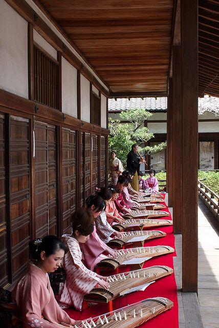 Koto players at Bishamon-do, Kyoto, Japan