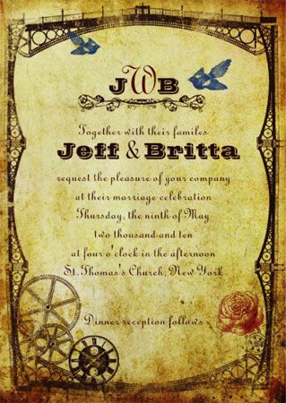 Steampunk-themed weddings are HOT right now* so I thought I'd get in on the action and design a Victorian Steampunk Wedding Invitation Suite for Poptastic Bride on Zazzle.    Victorian Steampunk W