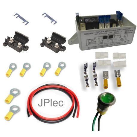 Kit comprenant un coupleur (type suivant modèle), câble 6mm², 2 portes fusibles avec fusibles, un témoin de couplage, les cosses et une notice de raccordement.