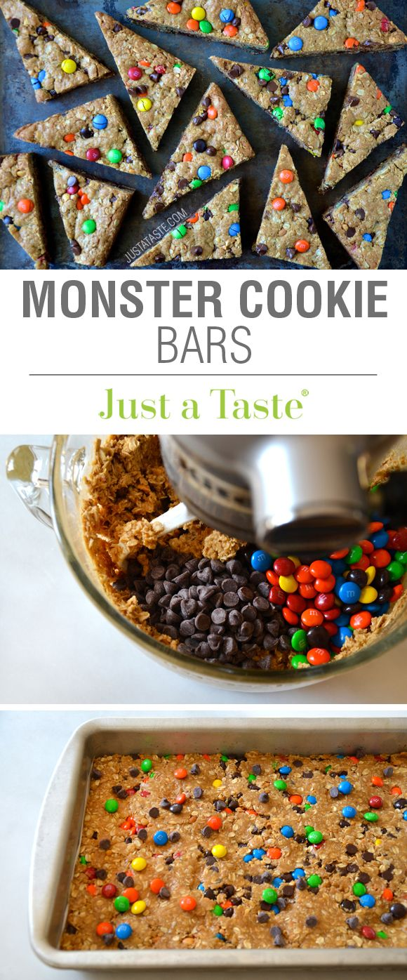 Monster Cookie Bars recipe via justataste.com