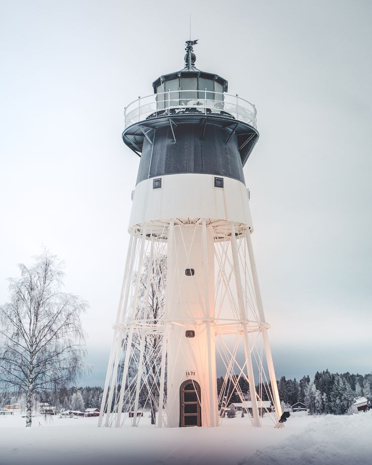 A lighthouse surrounded with snow in Jävre, Piteå❄️