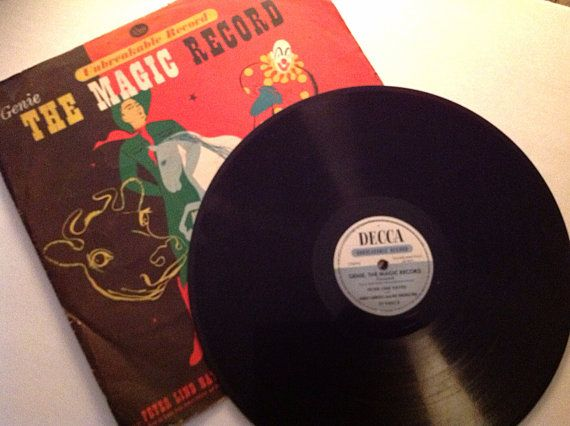 Rare Genie the Magic Record 1946 - Children's songs and stories vinyl collectible by VinylRocket #TrendingEtsy