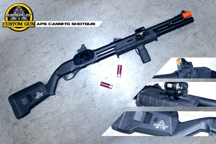 AirSplat Custom APS CAM 870 CO2 Shotgun $699.99 http://www.airsplat.com/items/AS-APS-M870.htm  Specifications: - Velocity: 270 FPS (0.2g BB) / Range: 30-50 Feet - Barrel Length: 20 Inches / 50 cm - Magazine Capacity: 12 Rounds per Shell - Shell Capacity: 6 + 1 Features: - Realistic Weight, Feel, and Action - Genuine MAGPUL USA Stock  Grip - Full Metal Construction - Realistic Shell Ejection - 2 Shells Included