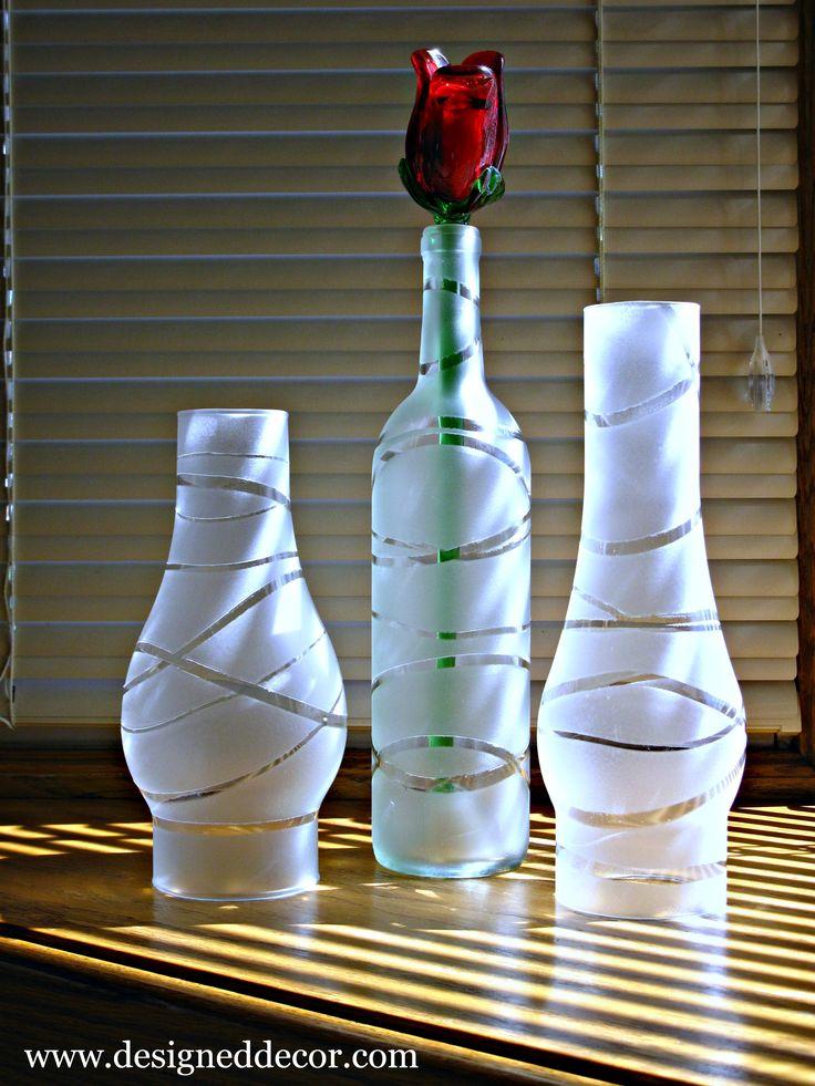 Spray painted glass bottles/ jars  http://designeddecor.wordpress.com/  #vase, #DIY vase, #frosted glass