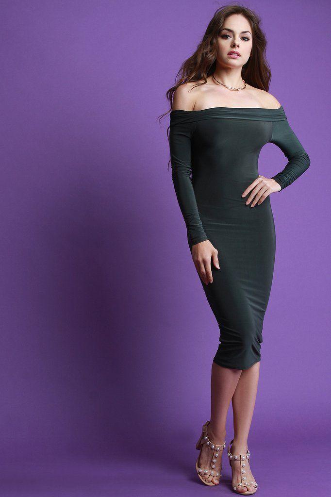 Stretch Off The Shoulder Bardot Midi Dress