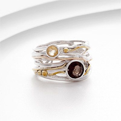 Handmade silver jewellery, perfect gift, unique jewellery, worldwide shipping Stunning sterling silver and gold ring set with Smokey Quartz and Citrine on Etsy, £60.00