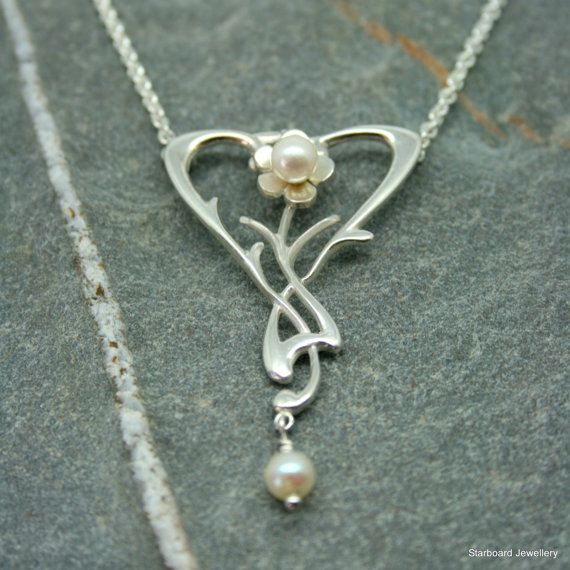 Pearl and silver art nouveau style necklace by starboardjewellery