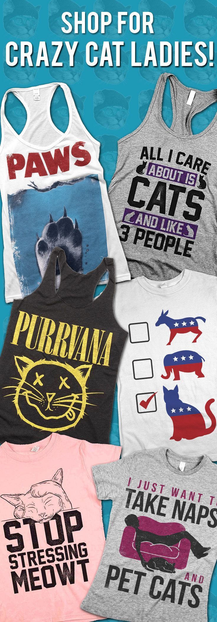 Shop our huge selection of apparel and gifts for cat lovers! FREE SHIPPING through the end of the week!