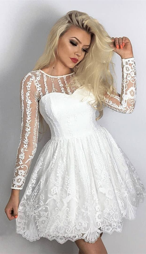 5e3e54f1294 A-Line Crew Long Sleeves Short White Lace Homecoming Dress with ...