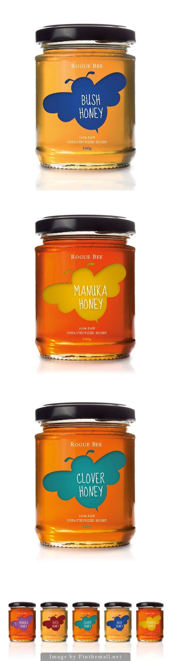 What i like about this label for honey is the single graphic of the honeybee with very little else around it, which by the looks of it was probably printed onto acetate and pasted around the width of the jar.