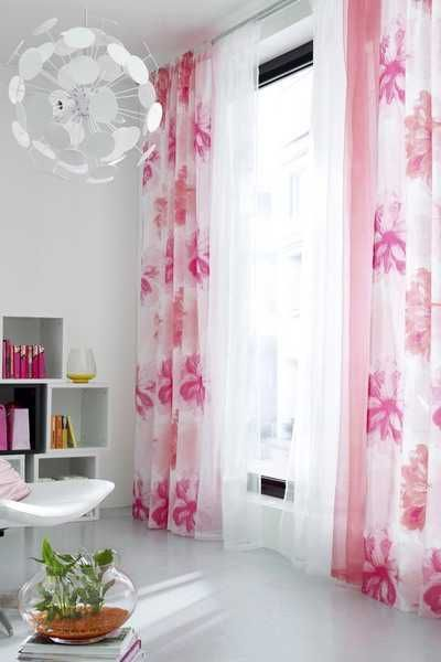 pink and white floral window curtains
