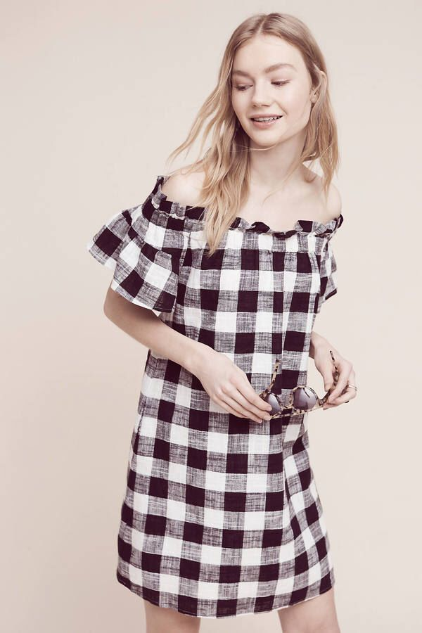 Corey Lynn Calter Gingham Off-The-Shoulder Dress