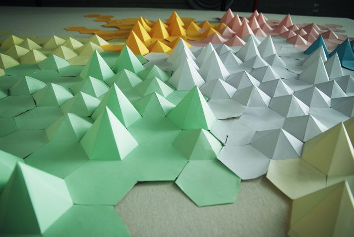 Paysage Installation Origami Papier 3d Cartographie Montagne