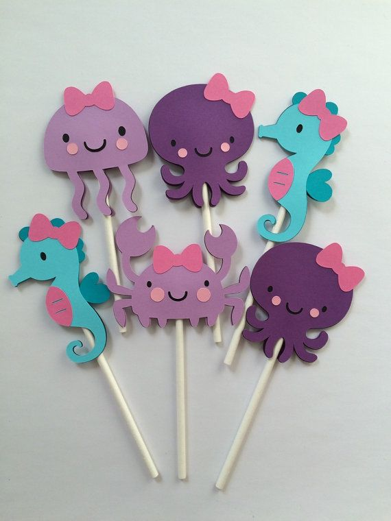 12 Under the sea cupcake toppers, girl seahorse octopus jelly fish crab…