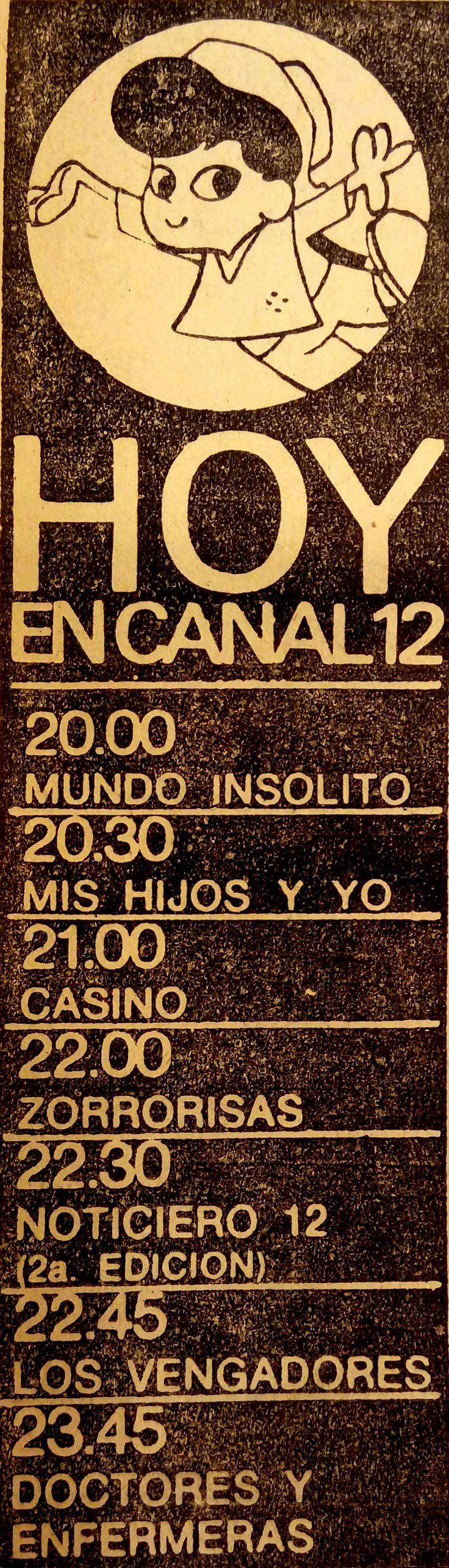 Publicidad de programación de CANAL 12, Córdoba, Argentina, 1967.
