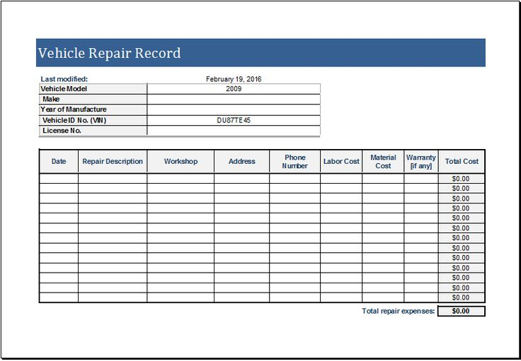 Vehicle Repair Log Download At Http://Www.Xltemplates.Org/Vehicle